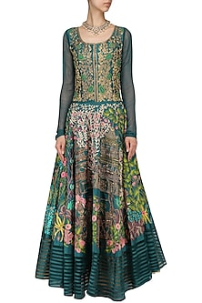 Teal Floral Embroidered Anarkali by Aharin India
