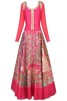 Fuschia Floral Embroidered Anarkali