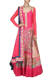 Fuschia Floral Embroidered Anarkali by Aharin India
