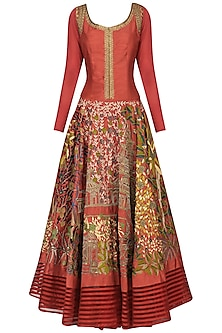 Maroon Floral Embroidered Anarkali