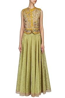 Mustard Yellow Embroidered Cropped Jacket With Lime Green Skirt by Aharin India