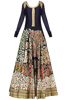 Navy Floral Embroidered Floor Length Gown by Aharin India