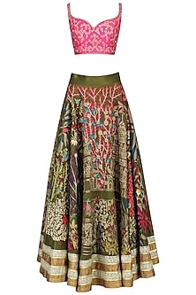 Pink And Olive Floral Embroidered Lehenga Set