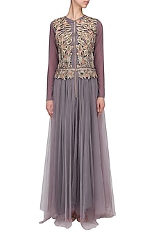 Purple Floral Embroidered Gown by Aharin India