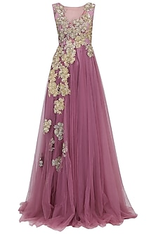 Onion Pink Floral Motif Gown