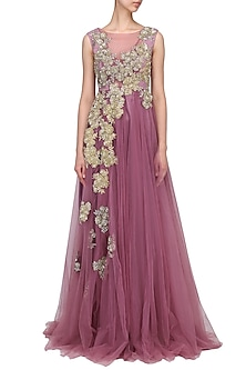 Onion Pink Floral Motif Gown by Aharin India