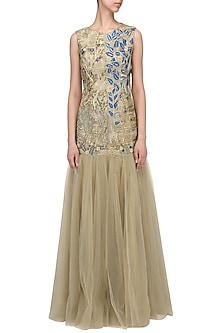 Gold And Blue Floral Embroidered Gown by Aharin India