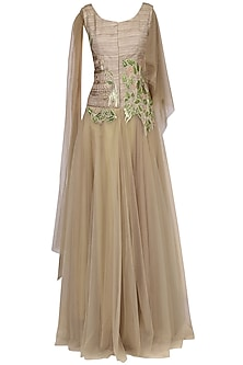 Gold Floral Embroidered Drape Gown