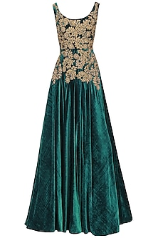 Teal And Gold Floral Embroidered Gown