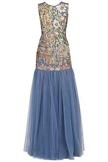 Slate Blue Floral Embroidered Gown