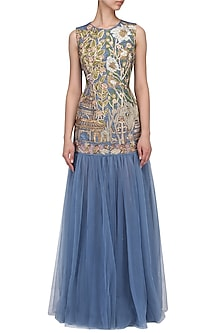 Slate Blue Floral Embroidered Gown by Aharin India