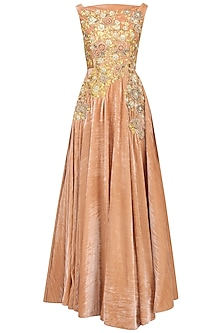 Peach And Gold Flower Embroidered Gown