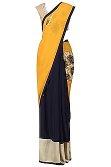 Navy and Yellow Embroidered Saree with Gold Blouse