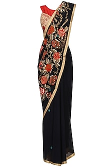 Navy Embroidered Saree with Red Blouse