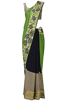 Navy and Green Embroidered Saree with Grey Blouse