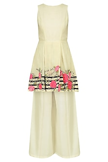 White Floral Embroidered Tunic with Palazzo Pants Set