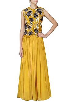 Yellow Floral Embroidered Jacket with Skirt Set by Aharin India