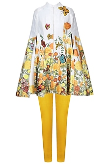 White Embroidered Cape with Yellow Fitted Pants Set