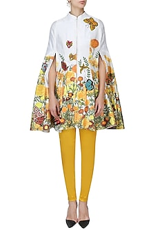 White Embroidered Cape with Yellow Fitted Pants Set by Aharin India