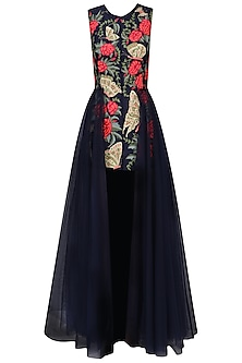 Navy Blue Embroidered Trail Dress