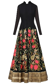 Black Butterfly Embroidered Anarkali Set by Aharin India