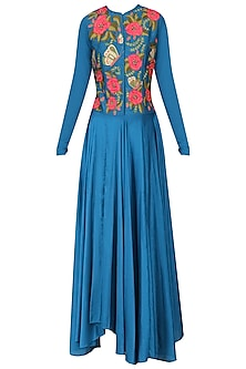 Teal Embroidered Kurta Set by Aharin India