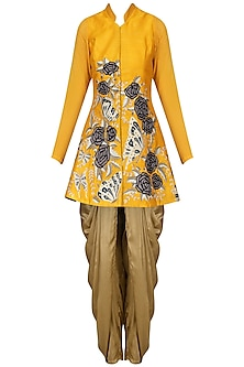 Yellow Butterfly Embroidered Jacket with Gold Dhoti Pants