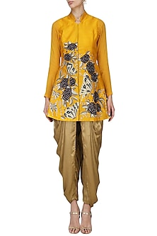 Yellow Butterfly Embroidered Jacket with Gold Dhoti Pants by Aharin India