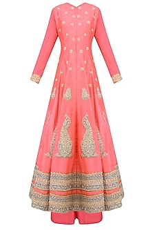 Coral Paisley Motifs Embroidered Anarkali Set with Palazzo Pants