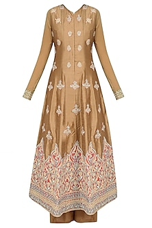Dark Brown Pearl and Zari Embroidered Anarkali Set with Palazzo Pants