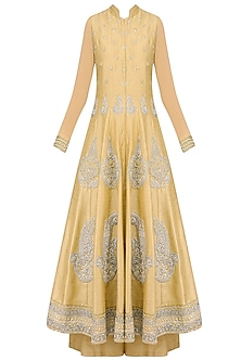 Dark Beige Pearl and Dabka Embroidered Anarkali Set with Palazzo Pants by Aharin India