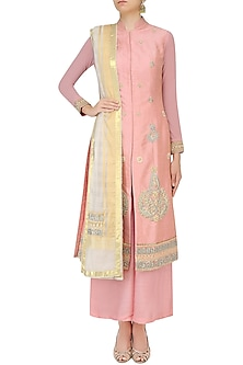 Peach Jaal Embroidered Straight Kurta Set with Palazzo Pants by Aharin India