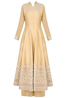 Beige Ornate Floral Embroidered Anarkali Set with Palazzo Pants
