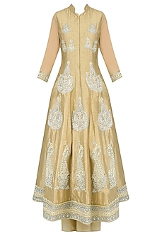 Light Gold Paisley Motif Embroidered Anarkali Set with Palazzo Pants