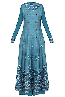 Teal Blue Ornate Floral Embroidered Anarkali with Palazzo Pants by Aharin India