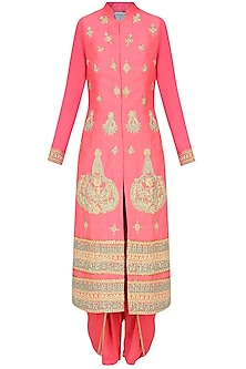Coral Pearl and Dori Embroidered Straight Kurta Set with Dhoti Pants by Aharin India