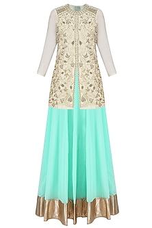 Ivory Nakshi Embroidered Jacket Style Kurta with Skirt by Aharin India