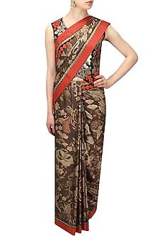 Black Printed Saree with Black Birds Embroidered Jacket by Aharin India