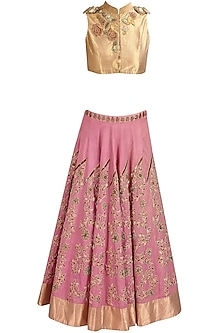 Pink Floral Zardozi and Resham Embroidered Lehenga and Gold Blouse Set