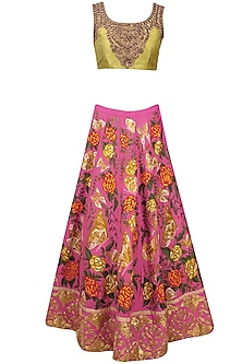 Pink Butterfly and Floral Embroidered Lehenga and Lime Green Blouse Set