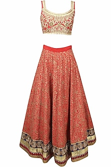 Red Floral Thread and Sequins Embroidered Lehenga Set