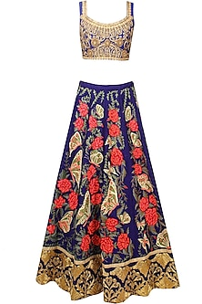 Blue Butterfly and Floral Resham and Zari Embroidered Lehenga Set