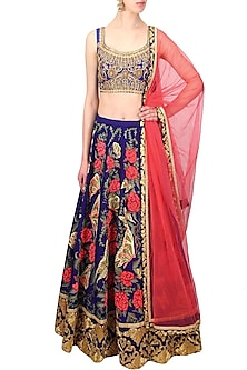 Blue Butterfly and Floral Resham and Zari Embroidered Lehenga Set by Aharin India