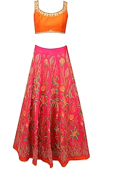Pink Floral Resham and Zari Embroidered Lehenga and Orange Blouse Set