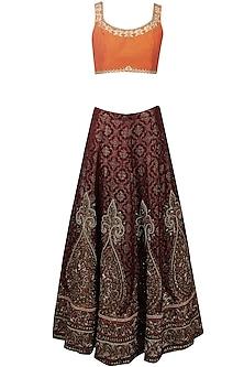 Maroon Resham and Zari Embroidered Brocade Lehenga and Orange Blouse Set