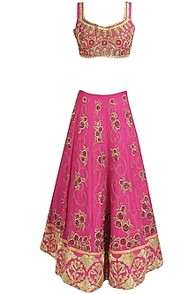 Pink and Gold Floral Zardozi and Dori Embroidered Lehenga Set
