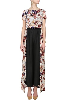 Cream floral printed high low cape by Ash Haute Couture