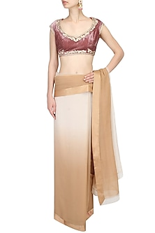 Onion Pink Zari Thread Work Embroidered Blouse by Aharin India