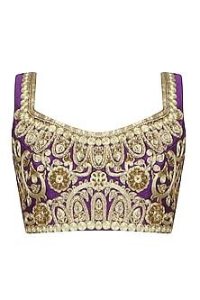 Purple Ornamental Jaal Pattern Blouse by Aharin India