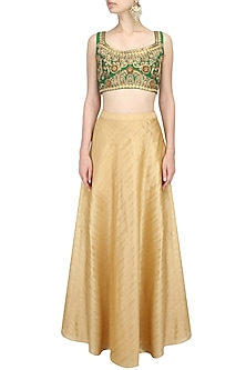 Green Ornamental Pattern Thread Work Embroidered Blouse by Aharin India